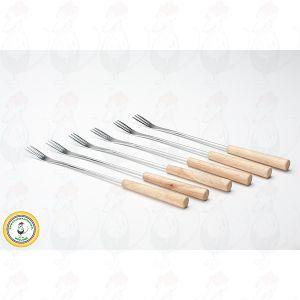 Fondue forks, set of 6, light wood