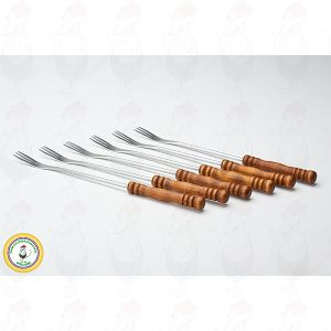Fondue forks dark wood set of 6