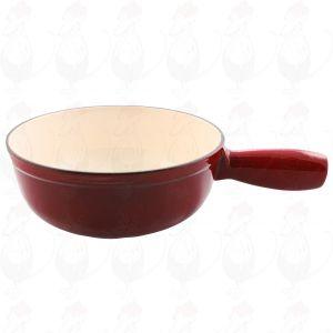 Plain red cast iron/enamelled cheese fondue pan.