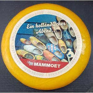 Your own print on a whole Gouda cheese